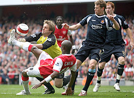 Robert Green produced a number of brilliant saves, this one from William Gallas