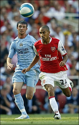 Gael Clichy (pictured) and Kolo Toure were the only first-team defenders to finish the game against City