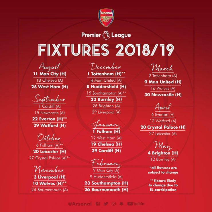 Arsenal 2018/19 Full Premier League Fixture