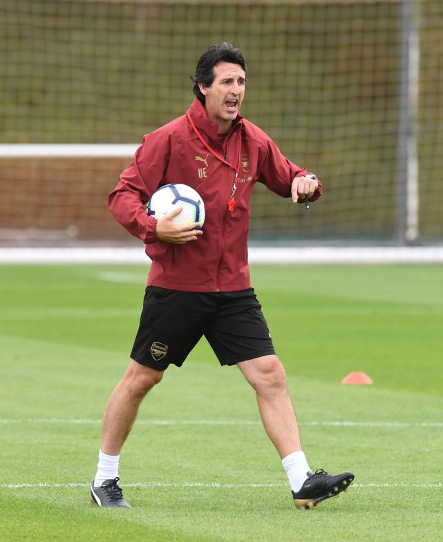 Arsenal manager Unai Emery in training