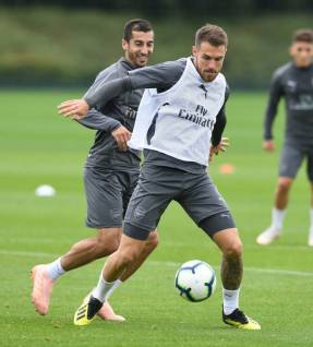 Aaron Ramsey with the ball in training