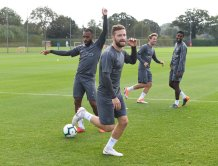 Arsenal players in training