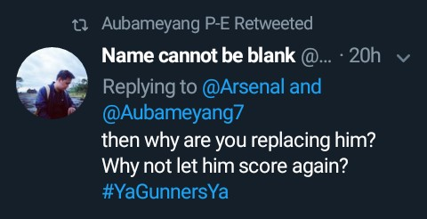 Aubameyang Retweet