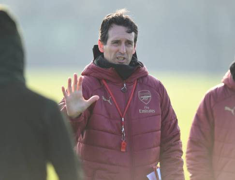ST ALBANS, ENGLAND - NOVEMBER 21: Arsenal head coach Unai Emery during a training session at London Colney on November 21, 2018 in St Albans, England. (Photo by Stuart MacFarlane/Arsenal FC via Getty Images) *** Local Caption *** Uani Emery