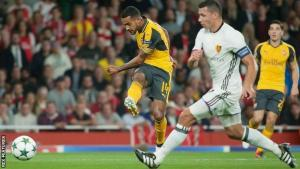 Theo fires in his second goal
