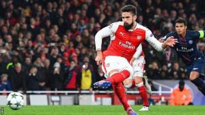 Olivier Giroud nets penalty as Arsenal and PSG draw 2-2