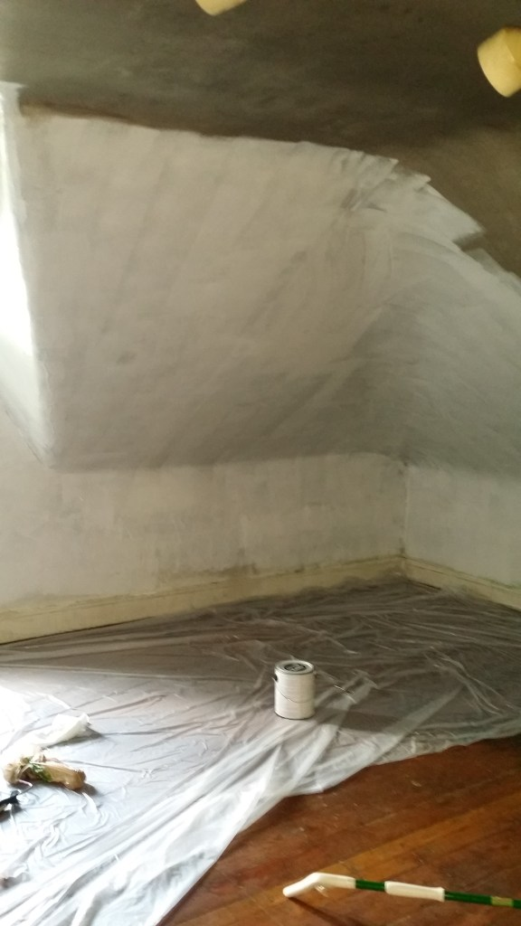 I used Zinsser Brand primer to cover the soot damage on the walls and ceiling