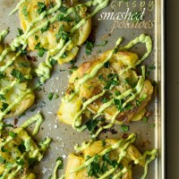 Crispy Smashed Potatoes with Avocado Garlic Aioli