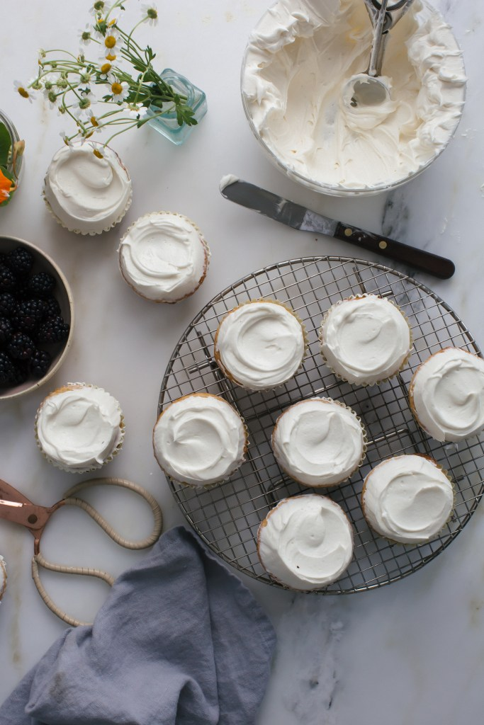 Honey Cupcakes With Chamomile Buttercream