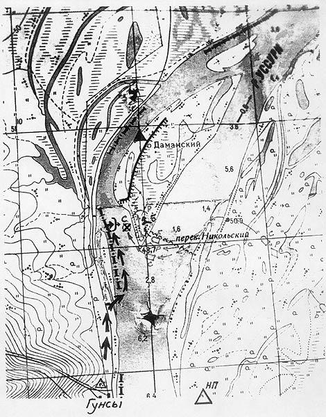 о.Даманский на карте