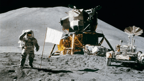All Moon and material experts have no doubt about it: the flags are now completely white. If you leave a flag on Earth for 43 years, it would be almost completely faded. On the Moon, with no atmospheric protection whatsoever, that process happens a lot faster. The stars and stripes disappeared from our Moon flags quite some time ago.