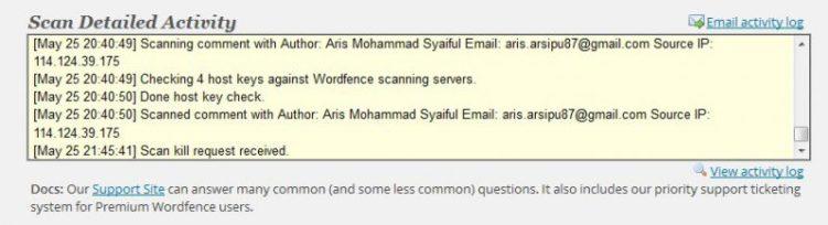 Data scanning wordfence