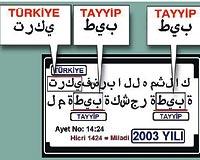 Arapçada harfler bitişik yazıldığında araya ünsüz ve yumuşak ünlü harfler de girmektedir. Tayyip ve Türkiye kelimelerinin yazılışında da aynı durum sözkonusudur. Tabloda, bu iki ismin yazılışındaki ana harfler esas alınmıştır.
