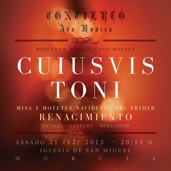 Cartel del concierto Cuiusvis toni 2013
