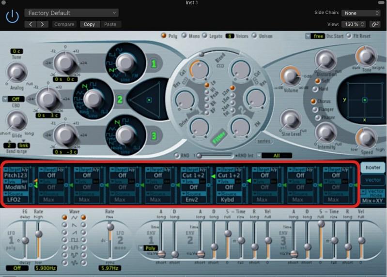 Matrice de modulation ES2 Logic Pro