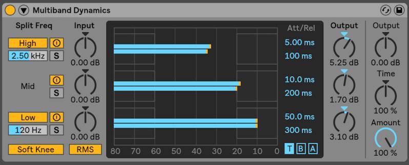 Processeur de la dynamique (Ableton Multiband Dynamics)
