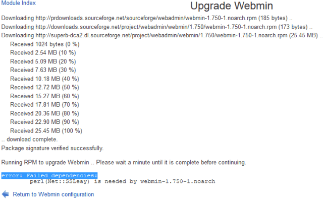 Upgrade Webmin error