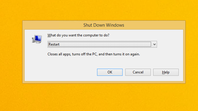 How to shutdown or restart Windows 8 from an Remote Desktop