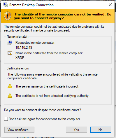Ignore the warning of RDP certificate and accept the certificate