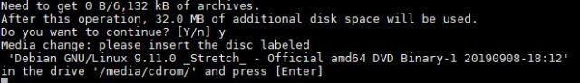 Media change please insert the disc labeled Debian