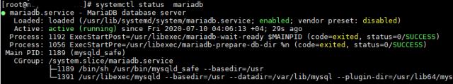 MySQL MariaDB status