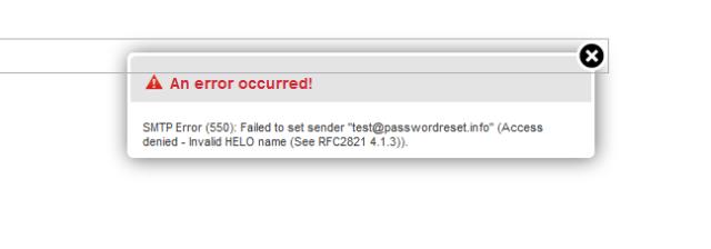 Roundcube SMTP Error (550)