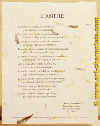amitié - traduction - Dictionnaire Français-Anglais