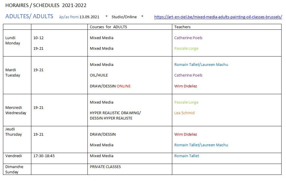 Année académique 21-22 Horaires Cours-adultes Studio-art-en-ciel ASBL Blx