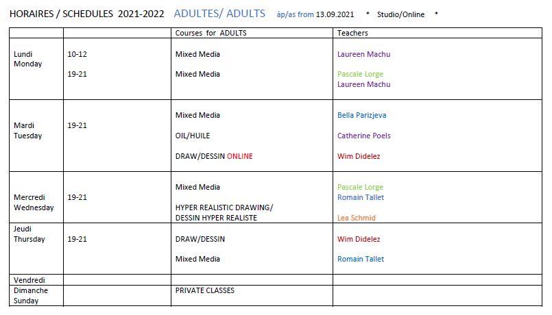 Année académique 21-22 Horaires Cours-adultes Studio-art-en-ciel ASBL Bxl