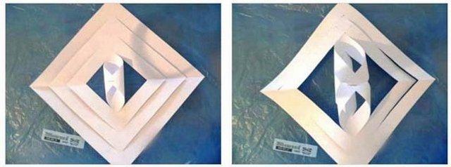 Cara untuk memotong kepingan salji dari tuala. Langkah nombor 7.