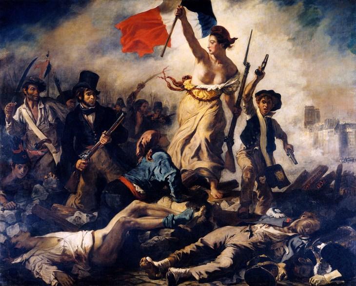 Свобода, ведущая народ , холст, масло Эжен Делакруа, 1830; в Лувре, Париж.