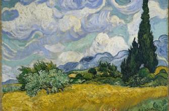 Пшеничное поле с кипарисами , холст, масло. Винсент Ван Гог, 1889; в Национальной галерее, Лондон.
