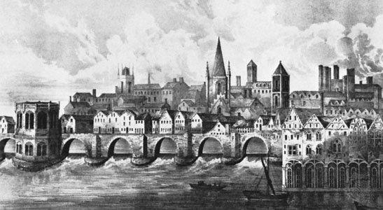 Старый Лондонский мост, литография после рукописного освещения ц. 1500 в Британской библиотеке (Royal MSS16.F.ii.XV.).