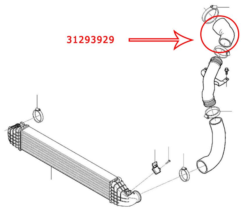 Wąż intercoolera VOLVO V40 2.0 D3 2013- 31293929 31293929