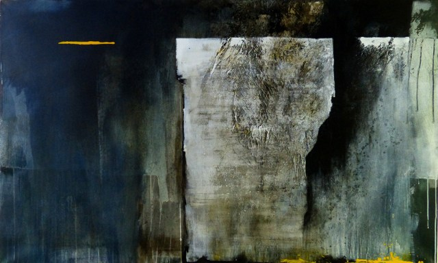 """Eisblock ***Sold*** by Carole Kohler """"Dimension H 90 * W 150 * D 4.5 cm """" – Acrylic on Canvas – Mixed Media, natural fibers, and Pigments"""