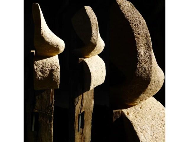 L'instant éternel 3 - Sculpture en Calcaire du Pont_du_Gard, bois de chêne et fonte - Carole Kohler (a)