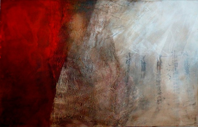 """Höhlentanz by Carole Kohler """"Dimension H 90 * W 140 * D 4.5 cm """" – Acrylic on Canvas – Mixed Media, natural fibers, and Pigments"""