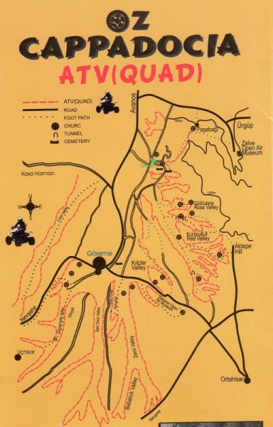 Карта Каппадокии - окресности Гёреме