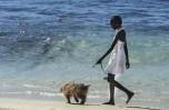 Ragazza con cane in spiaggia