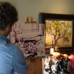 Early stages of Gabriel Mark's still life demo at Elan Gallery