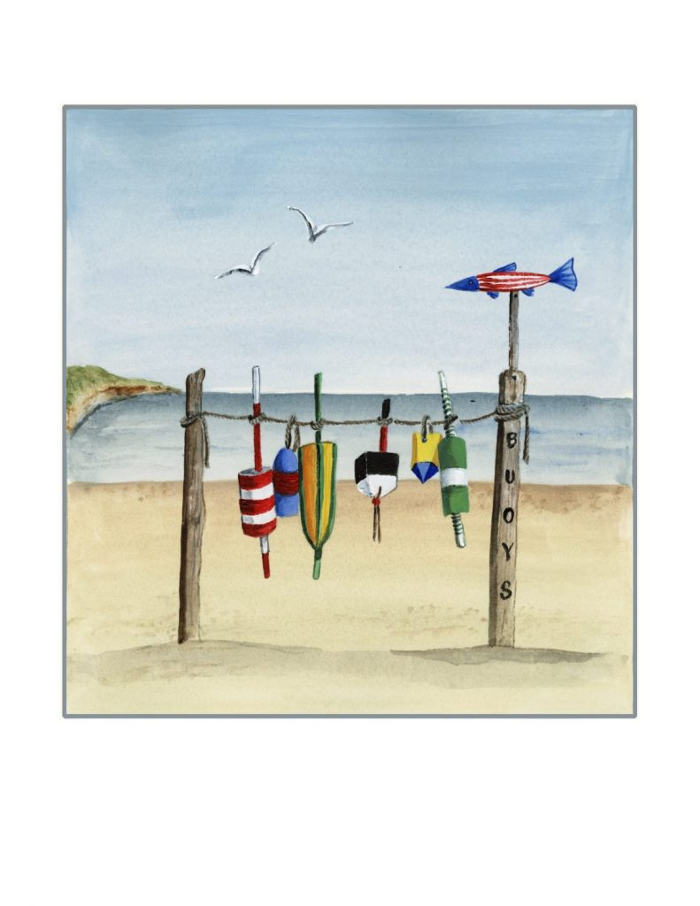 Katharine Gracey's bright and humorous summertime series features images of the beach like this one entitled Gulls and Buoys.