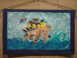 Sea Turtles, painting on silk from the Save Our Oceans series by Judy Elliott