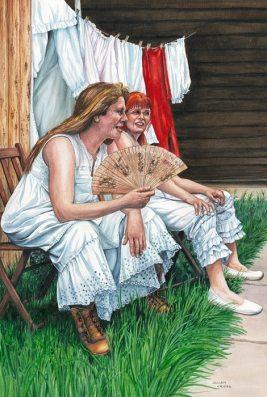 """Washhouse Whores"", painting by Jillian Crider"