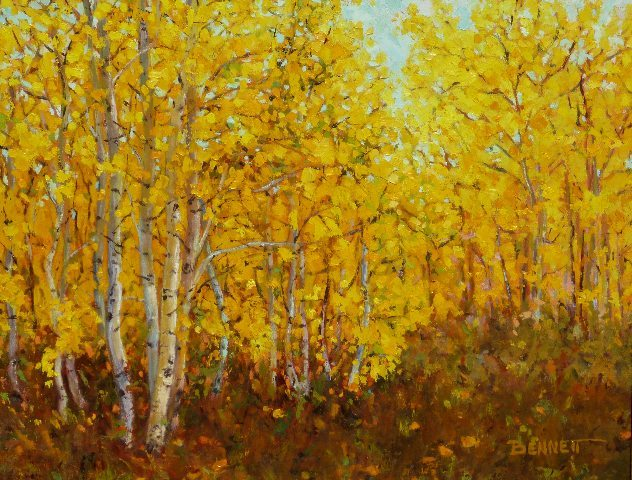Autumn Aspen, oil painting by Sue Bennett
