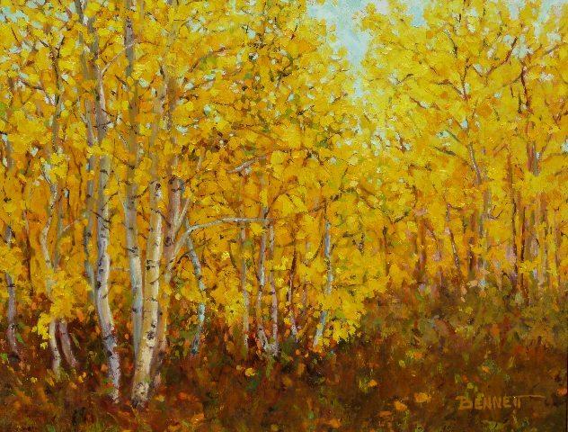 Autumn Aspen, oil painting by Sue Bennett