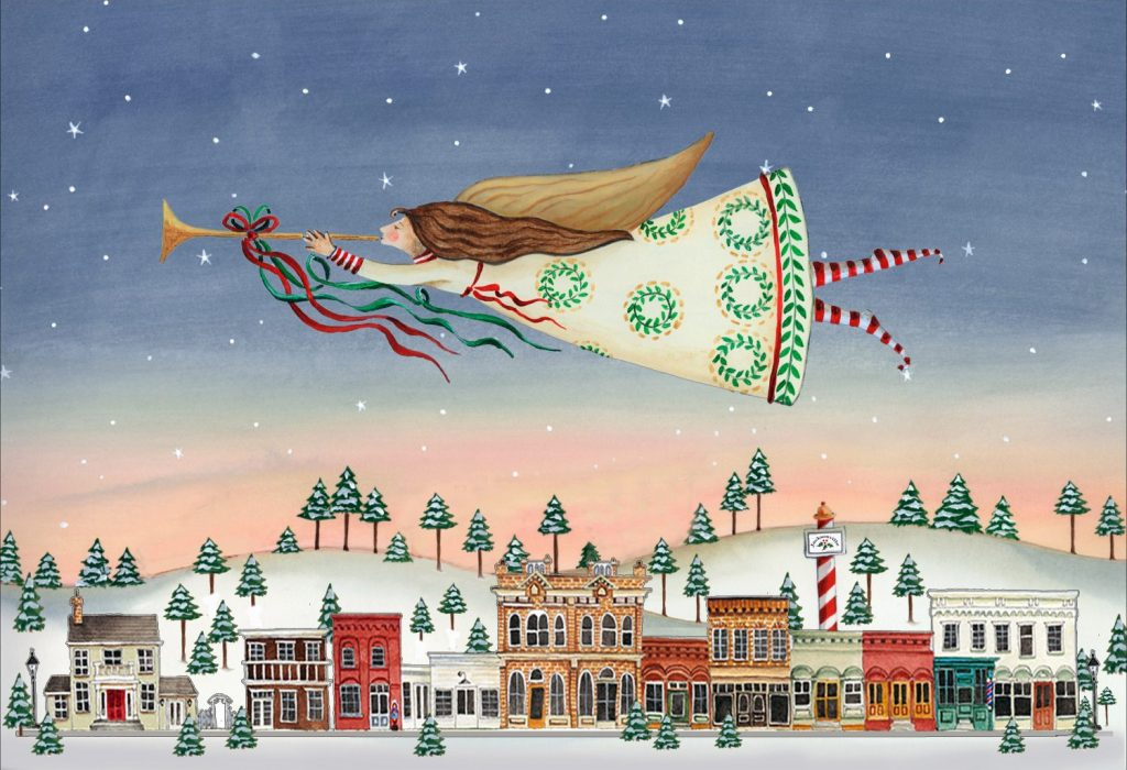 Angels Show Call to Artists - Image of painting entitled Christmas in Jacksonville, depitcing a festive herald angel flying over the snow-covered town of Jacksonville, Or, by Katharine Gracey