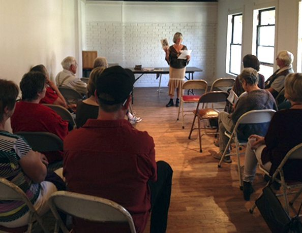 Diana Coogle reads from her book, Living With All My Senses, at the first Art Presence Authors Read author reading on Saturday, March 6, 2015