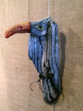 Grey Vulture, oil on driftwood by Tonia Davis