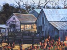 Jacksonville, Oregon Public Library art exhibit, May - August 2015: Winter Light on Jacksonville Farm, oil painting by Walt Wirfs