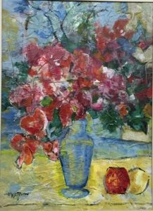 Red Flowers in Blue Vase
